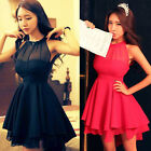 Elegance Ladies Backless Sleeveless Chiffon Party Evening Short Mini Sexy Dress