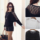 Hot Sexy Women Ladies Batwing Blouse Tops Loose T-Shirt Dolman Lace Long Sleeve
