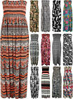 New Plus Womens Printed Bandeau Strapless Shirred Ladies Long Maxi Dress 16-22