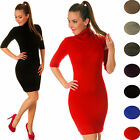 Half Sleeves Stretch Bodycon Knitted Polo / Turtleneck Dress One Size 8-12 125
