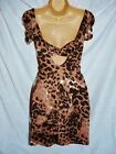 BNWT NEXT New Brown Animal Print Cut out Back jersey longline Top tunic SIZES