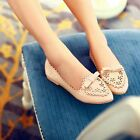 Womens Sweet Brogue Chelsea Pointed Toe Bowknot Boat Oxford Shoes Plus Size New