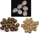 20pcs Silver/Golden/Bronze Hollow Out Flower Oval Shaped Spacer Beads 14mm/22mm