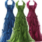 Shining Layered Halter Yarn Ball Gown Banquet Evening Formal Wedding Party Dress