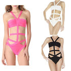 stone Women Bandage One Piece Monokini Cut Out Hollow Halter Bikini Swimsuit