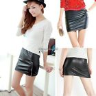 Womens Lady Sexy Club Synthetic Leather Bodycon Mini Short Skirt Tight Dress Hot