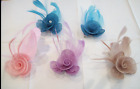 FASCINATOR HESSIAN ROSETTE & ROSEBUD FEATHER & CRYSTAL HAIR CLIP - CORSAGE PIN