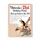 Personalised Birthday Party Invitations 21st 30th 40th 50th Vintage Pin Up Girl