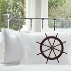 Two (2) Nautical Vintage Ship's Wheel MARINER Pillow Cover Pillowcase