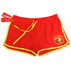 Womens LICENSED BAYWATCH Red & Yellow Cotton - Retro Beach Shorts ALL SIZES