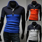 Stylish Mens Casual Fitted Cotton Slim POLO Shirt Short Sleeve Tee Top T-shirts