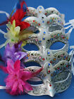 Choice of 5 Flower Colours Silver Jewelled Venetian Masquerade Carnival Eye Mask