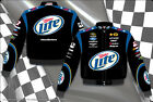 2014 Brad Keselowski Miller Lite  Mens Black Cotton Authentic Nascar Jacket-JH