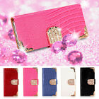 DIAMOND WALLET LEATHER FLIP CASE COVER FOR VARIOUS MOBILE PHONES