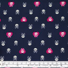 FQ. PARATE SKULL BONE & HEART KAWAII CARTOON 100% Cotton Fabric Dress Craft VK35