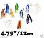 """2 to 20pairs Fishing Rigged 4.75"""" Twin Hoochies Squid Rock Fish Rigs Lures New"""