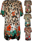 New Plus Size Womens Floral Animal Print Ladies Short Sleeve Tunic Top 16-22