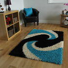 Cheap Soft Small X Large Thick Shag Pile Carpets Black Teal Shaggy Swirl Rugs