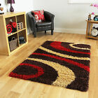 Small X Large Cheap Thick Soft Easy Clean Retro Chocolate Brown Red Shaggy Rugs