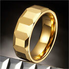 Mens Tungsten Cubes Ring Gold Engagement Wedding Band 8mm