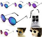 V106-VP (6001ACM) Round Circle 80s Vintage Flash Mirrored Sunglasses +Pouch