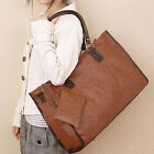 UK SHIP Women Girls Faux Leather Large Shoulder Bag Hobo Weekender Handbag Totes