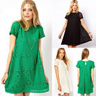 Pretty Floral Lace Short Sleeve Party Prom Gown Womens Office Wear To Work Dress