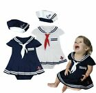 Baby Girl Halloween Sailor Dress Costume Suit Outfit HAT Set Navy/White3-24M