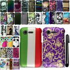 For LG Optimus Zone 2 Fuel L34C Rubberized PATTERN HARD Case Phone Cover + Pen