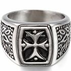 Black Silver Stainless Steel Shield Cross Men's Ring Engagement Wedding Band