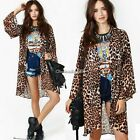 Womens Fashion Leopard Print Chiffon Cardigan Jumper Knitwear Tops Blouse Shirt