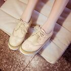 Womens Vintage Brogue Chelsea Lace Up Wedge Heel Platform Creeper Oxfords Shoes