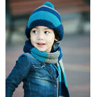 ST Child Baby Kid Girl Boy Winter Warm Buttons Stripe Knit Ball Hat Cap Scarf