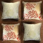 "Set Of 4 x 17"" Terracotta & Gold Classic Jacquard Printed Cushions + Covers"