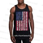 Stars And Stripes Distressed USA Flag Tattered Patriotic Mens Tank Top Tee Shirt