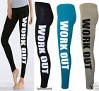 Womens Ladies Stretch Full Length Work Out Print Legging Trouser Pants Size 8-14