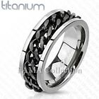 Top Quality FAMA Solid Titanium Ring with Black Spinning Chain Size 9-14