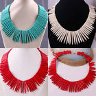 "Blue/White/Red Turquoise Howlite Stone Bead Needle Necklace 18"" Jewelry"