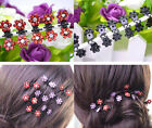 6pcs Girls Sweet Crystal Rhinestone Flower Mini Hair Claws Clips Clamps Grips