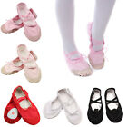 Lady Girls Kid Adult Canvas Ballet Shoes Pointe Dance Flat Shoes Slippers 23-40