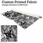 WILD CATS TIGER DESIGN FABRIC LYCRA SPANDEX JERSEY POLYESTER ALOBA CHIFFON