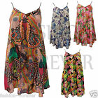 Ladies Womens Long Floral Flower Print Strappy Chiffon Swing Flared Vest Top