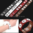 PU Leather Bracelet 3 DIY Snap Click Button Bead Charm Changeable Jewelry Punk