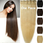 Tangle Free Real Remy Human Hair Extensions One Piece Clip in Black Brown Blonde