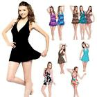 Plus Size Women's Slim One Piece Swimwear Paded Halter Skirt Style Swimsuit F303