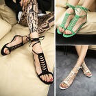 Womens Gladiator Sandals Strappy Summer Beach Home Casual Shoes Flat Flip Flops