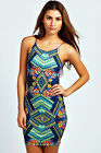 Boohoo Womens Ladies Daisy Floral Print Strappy Bodycon Dress In Navy