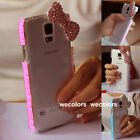 Super Bling Diamond Bow Back Clear Case Cover For Samsung Galaxy S5 I9600 G900