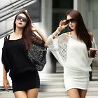 Black/White Women Hollow Sexy Dress Summer Casual Party Size M L BatwingC1MY