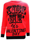 G32 New Women Knitted Kiss Me It's Valentines Day Print Jumper In 08-22